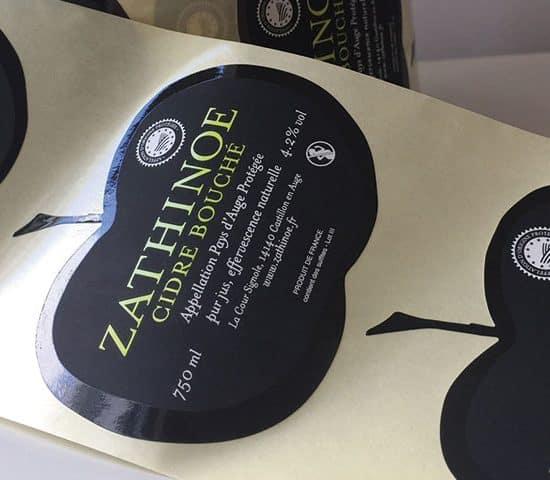 Etiquette Vernis sélectif - dorure - 3D - alcool- bouteille de cidre