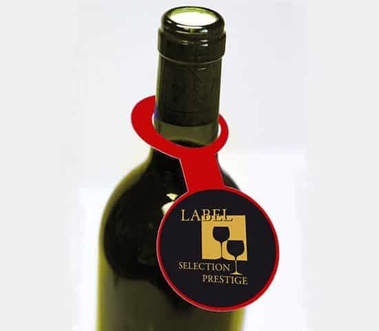 Etiquette adhésive-autocollante- collerette de bouteille