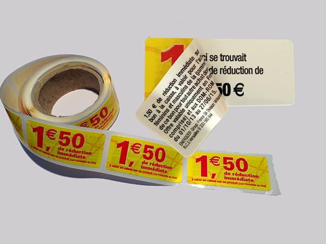 Etiquette adhésive - autocollante -coupon- vente- publicitaire