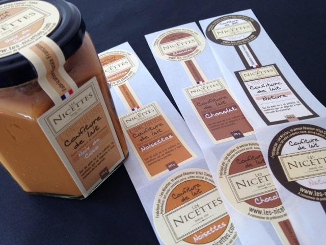 Etiquette adhésive - autocollante -pot et flacon- emballage- packaging- bouteille- alimentaire-confiture