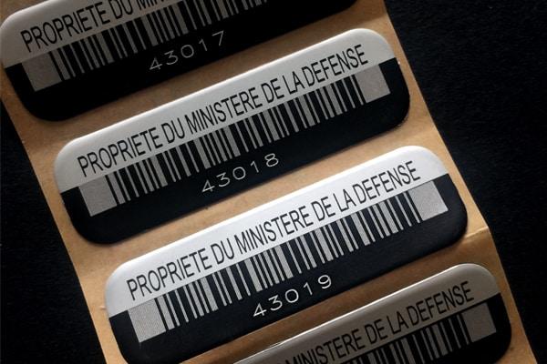 etiquette-numero-code barre-aluminium-fin