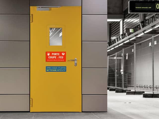 Etiquette signalétique-porte coupe feu-sécurité